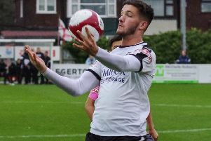 Paul Dawson in action for Bamber Bridge.
