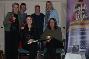 Pictures at the Rothbury WI literary event are, front row: Dr  Jacky Collins, LJ Ross, Mari Hanna. Back row: Ros Allen,  Shelley Day and  Katy Nicholls.