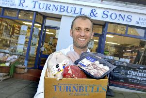 Mark Turnbull outside the Alnwick butcher's shop.