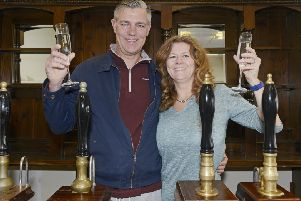 Paul and Sarah Johnson at The Ale Gate in Alnwick.' Picture by Jane Coltman