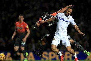 INJURED: Leeds United striker Kemar Roofe during last Wednesday night's 2-1 win against Swansea City, the game in which the striker suffered damaged knee ligaments.