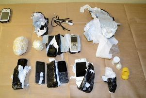 The package which was thrown through the fence at HMP Northumberland.