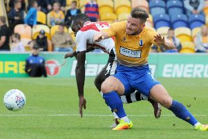 Mansfield Town v Exeter City.'Alex MacDonald in first half action.