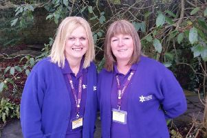 Two of HospiceCare North Northumberland's Hospice at Home nursing team, Cath McEwan and Cath Millar.