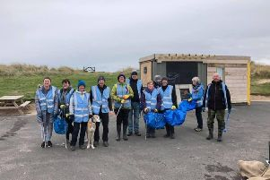 Volunteers at the Beadnell beach clean.