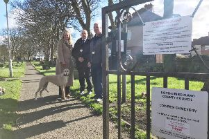 Alison Hall with dog Jess, Stephen Hall, senior animal welfare and environmental enforcement officer, and Stephen Kelly, senior cemeteries team leader.