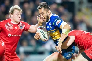 Nathaniel Peteru on the charge for Leeds Rhinos against London Broncos.