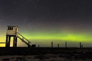 The aurora on Holy Island captured on camera by Jane Coltman