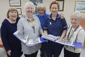 Ward sister Lynn Park and Anne Harper. from the League of Friends. with Rotary Club president Barbara Reid. Inner Wheel president Kathleen Bradford and member Jenny Gascoigne. Picture by Jane Coltman