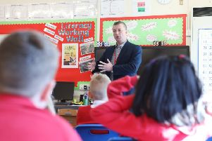 Independent mayoral candidate, John McCabe, pictured during his visit to St Bede's RCVA Primary School in Bedlington.