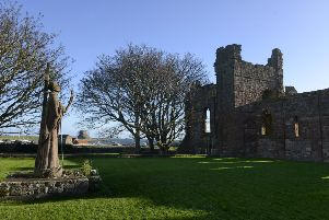 Statue of Saint Aidan on Holy Island 'Picture by Jane Coltman