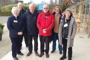 The Northumbria in Bloom judges at The Alnwick Garden. Left to right, Kathleen Bradford, from Alnwick in Bloom; head gardener Trevor Jones; judges Colin Jubb and Albert Paterson; Elizabeth Jones, Alnwick in Bloom co-chairman; and  Jenny MacDowell, Alnwick in Bloom vice chairman.