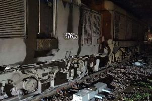 The train after it derailed between Sheffield and Doncaster
