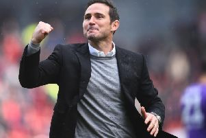 Frank Lampard celebrates at Bristol City,