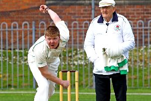 Morecambe's Lloyd Smith takes a wicket. Picture: Tony North