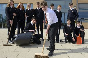 Some of the pupils at the Duchess's Community High School who are organising a Big Alnwick Clean-up to raise money for their Galapagos Islands trip. Picture by Jane Coltman