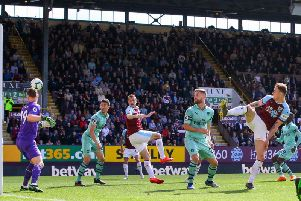 Burnley's Ashley Barnes scores against Arsenal on the final day of the Premier League season at Turf Moor