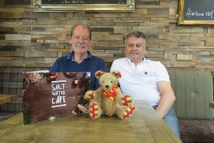Colin Brunt, treasurer of various Beadnell community groups, and Chico Gomes, owner of the Craster Arms, Saltwater Cafe and Black Swan Inn, Seahouses, at the launch of new Northumberland Day mascot, Northumbear.