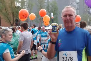 Jim Manford, who, at 73, completed his 300th marathon at the Copenhagen Marathon last Sunday.