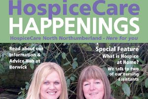 Part of the HospiceCare Happenings magazine front cover.