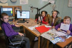 Pupils from Swansfield Park Primary School, Alnwick, in the studio at Lionheart Radio.