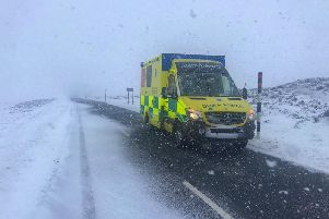 The North East Ambulance Service at work in adverse weather.