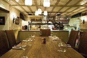 Chef's table in the grill restaurant