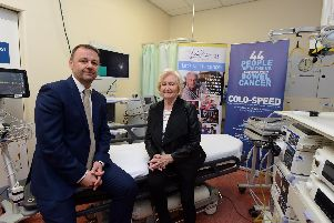 Professor Colin Rees, Professor of Gastroenterology, with Lady Elsie Robson at the launch of the COLO-SPEED project at South Tyneside District Hospital.