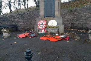 The vandalised Trawden War Memorial