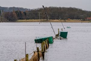 Date: 28th February 2020.'Picture James Hardisty.'Tadcaster Albion AFC Junior pitches on the Ings still covered by flood water.