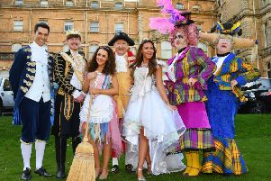 Grand Opera House York Panto 2018 Cinderella And The Lost Slipper. Pictured from the left are Danny Rogers as Dandini, Jack McGill as The Prince, Amy Thompson as Cinderella, John D Collins as The Baron, Michelle Heaton as The Fairy Godmother, Steve Wickenden as Calpol and Ken Morley as Covonia. Picture by David Harrison.