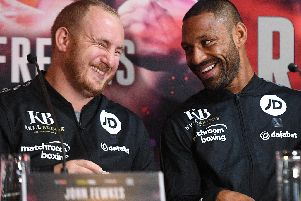 Kell Brook and John Fewkes at a press conference prior to the Zerafa win