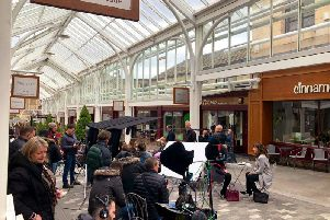 Films crews at Westgate Arcade, Halifax. Picture by @Calderdale