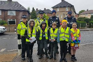 Ecclesfield youngsters with the police.