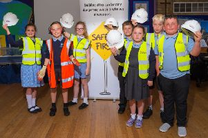 The children received a lesson on the importance of health and safety on construction sites.