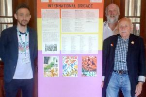 (From left): David Ridehalgh from Burnley Central Library; Chris Keene, treasurer of NE Lancashire TUC; and Charles Jepson of the International Brigades Memorial Trust.