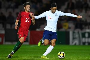 Dwight McNeil playing for England Under 20s against Portugal Under 20s. Photo: Getty