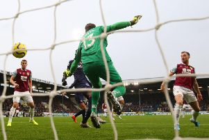 Ashley Barnes opens the scoring for Burnley against West Ham at Turf Moor