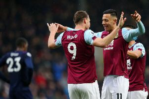 Dwight McNeil celebrates with Chris Wood