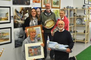 Some of the East Riding Artists group with their work. They will be showcasing their talents at Bishops Manor in Howden.