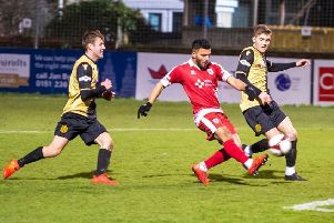 Waqas Azam scores Colne's third goal against Marine                    Picture: Andy Pritchard