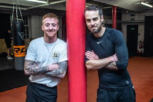 Kay's Boxing Academy coach Sam Larkin and Burnley Express sports reporter Dan Black