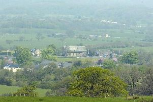 A view from the top of Langho looking down onto Mytton Fold Hotel.