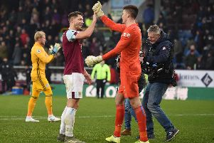 Clarets centre back James Tarkowski with goalkeeper Nick Pope
