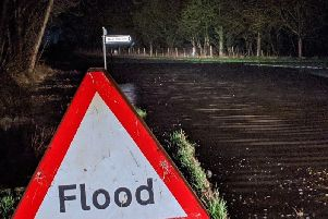 Flooded road at Church Road, Thornton in Craven