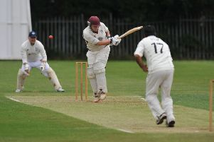 Marsden batsman Colin Mann in action against Whiteleas and Harton, played at Harton Welfare, South Shields.