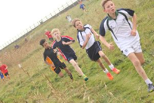 Front runners in the Year 7 boys' race