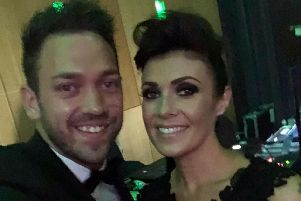 Josh Hindle meeting Kym Marsh at a glittering charity event in aid of the Royal Manchester Children's Hospital. (s)