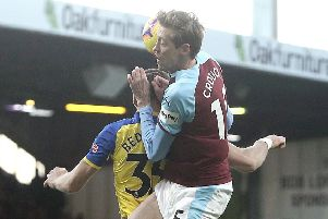 Burnley's Peter Crouch battles with Southampton's Jan Bednarek''Photographer Rich Linley/CameraSport''The Premier League - Burnley v Southampton - Saturday 2nd February 2019 - Turf Moor - Burnley''World Copyright � 2019 CameraSport. All rights reserved. 43 Linden Ave. Countesthorpe. Leicester. England. LE8 5PG - Tel: +44 (0) 116 277 4147 - admin@camerasport.com - www.camerasport.com