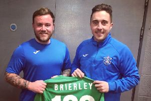 Nelson manager Andy Harrison (left) with skipper Ash Brierley